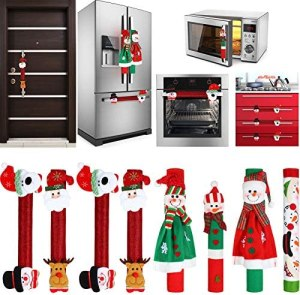 8 Pieces Christmas Refrigerator Door Handle Cover Santa Snowman Kitchen Appliance Handle Covers Decorations for Fridge Microwave Oven Dishwasher Christmas Handle Protector