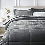 AmazonBasics Micromink Sherpa Comforter Set - Ultra-Soft, Fray-Resistant -  King, Charcoal