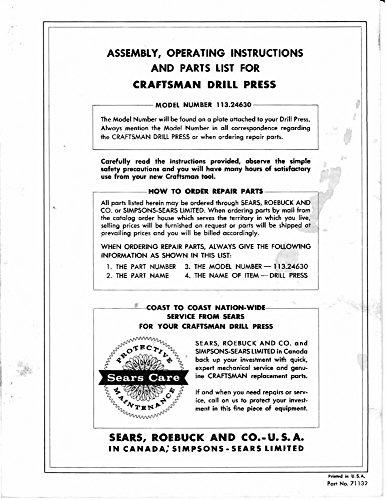 1969 Craftsman 113.24630 Drill Press-Assy, Operating Instructions & Parts Lis...