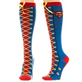 DC Comics Superman Faux Lace Up Juniors Knee High Socks