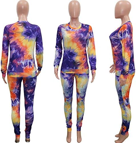 Womens Casual 2 Piece Outfits Tie Dye Long Sleeve T-Shirt Bodycon Pants Sports Sets 2