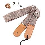 HOT SEAL Linen Style Adjustable Genuine Uke Leather Metal Hook Ukulele Strap Strong Back Straps (Linen Light Brown)