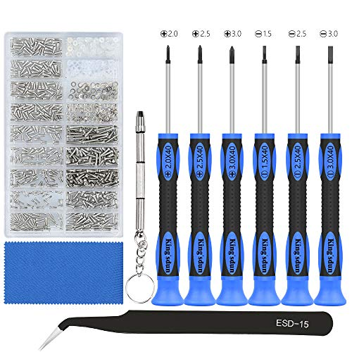 Eyeglass Repair Tool Kit, Kingsdun Glasses Precision Screwdriver Set with Eyeglass Screws Kit and Curved Tweezer in Assorted Size for Eyeglass, Sunglass, Spectacles & Watch Repair