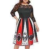 iLOOSKR Halloween Dress Plus Size Women Halloween Party Print Lace Patchwork Backless 3/4 Sleeve Knee Length Dress Black
