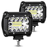 AMBOTHER LED Pods Light Bar 4 Inch 120w 12800lm Driving Fog Off Road Lights Triple Row Waterproof Spot Flood Combo Beam LED Cubes Lights for Pickup Truck Jeep ATV UTV SUV Boat, 2 Year Warranty, 2 Pack