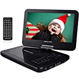DBPOWER 12.5' Portable DVD Player with 5-Hour Rechargeable Battery, 10.5' Swivel Display Screen, SD Card Slot and USB Port, with 1.8 meter Car Charger and Power Adaptor, Region Free- Black