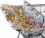 Shopping Cart Cover for Baby or Toddler   2-in-1 High Chair Cover   Compact Universal Fit   Unisex for Boy or Girl   Includes Carry Bag   Machine Washable   Fits Restaurant Highchair   Forest Animals
