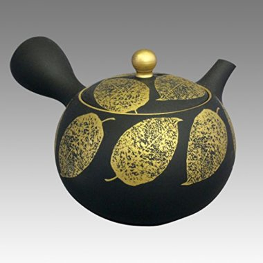 TOKYO MATCHA SELECTION - Tokoname Kyusu teapot - SHOHO - Golden tree Leef 200cc/ml - ceramic fine mesh [Standard ship by EMS: with Tracking & Insurance]