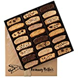 Granny Bella's Handmade Artisan Biscotti Gift Basket, 24 Gourmet Italian Cookies Non-GMO, Corporate Food Box Idea Christmas Holiday Cookie Baskets Valentines Mothers Day Birthday Thanksgiving Gifts