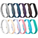LEEFOX Compatible Fitbit Flex 2 Band, Replacement for Fitbit Flex 2 Accessory Silicon Wristband w/Fastener Clasp Fitness Strap for Original Flex 2, 12 Packs, Small(Psalm 23-3)
