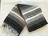 MEXIMART's Authentic Mexican Falsa Blanket Hand Woven (Black)