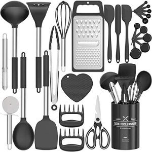Fungun Kitchen Utensil Set – 27 Pcs Silicone Non-stick Cooking Utensils – Kitchen Utensils with Spatula – Kitchen Gadgets Cookware Set – Best Kitchen Tool Set —Black Grey