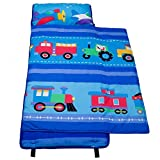 100% Cotton Nap Mat, Olive Kids by Wildkin Children's Cotton Nap Mat with Built in Blanket and Pillowcase, Pillow Insert Included, 100% Cotton, Children Ages 3-7 years - Trains, Planes and Trucks