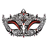 Masquerade Mask for Women Rhinestone Metal Mask Venetian Pretty Party Evening Prom Ball Mask Red