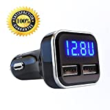 Jebsens 4.8A 24W Dual USB Car Charger Volt Meter Car Battery Monitor with LED Voltage & Amps Display, for iPhone 7 / 6s / Plus, iPad Pro / Air 2 / mini, Galaxy S7 / S6 / Edge / Plus, Note 5 / 4