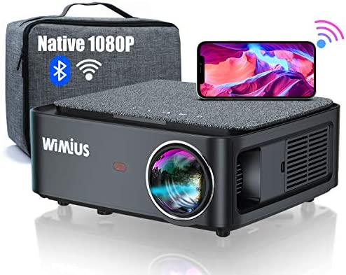 5G WiFi Bluetooth Projector, WiMiUS K1 7500L Video Projector Native 1920×1080 LED Projector Support 4K, ±50° Keystone, Zoom 500″ Office Software Works with Fire TV Stick PC DVD PS4 Smartphones