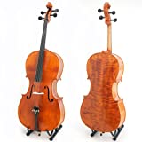 Cecilio CCO-600 Ebony Fitted Hand Oil-Rubbed Highly Flamed Solid Wood Cello, Size 4/4 (Full Size)