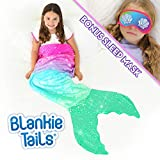 Blankie Tails Mermaid Tail Blanket with Bonus Sleep Mask Gift Set - Glitter Sparkle Pink/Aqua Ombre Mermaid Blanket-Double-Sided Minky Fleece Kids Size Mermaid Tail Wearable Blanket