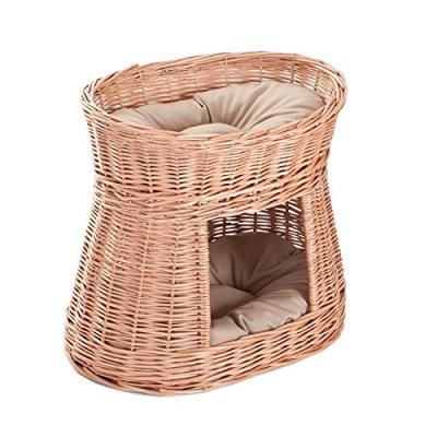 e-wicker24 Wicker cat Basket, 50 x 40 x 45 cm, Honey Yellow