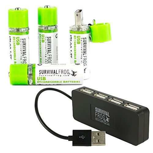 EasyPower USB AA Rechargeable Batteries 4 Pack w/Free 4-Port USB Hub - 1450mAh 1.2V NiMH AA USB Battery Charger Plugs into Any USB Device, 2-3 Times More Power Than Standard AA's