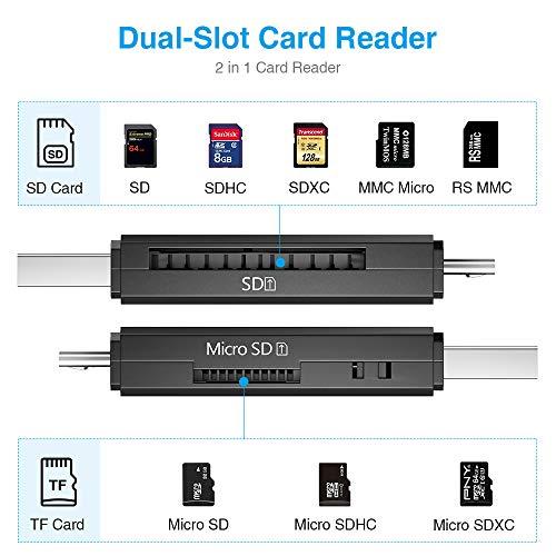 51vQsk71mmL - Vanja Micro USB OTG Adapter and USB 2.0 Portable Memory Card Reader for SDXC, SDHC, SD, MMC, RS-MMC, Micro SDXC, Micro SD, Micro SDHC Card and UHS-I Card