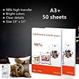 50 Sheets/Pack Heat Transfer Sublimation Paper Sublimation Ink Printing Paper Iron On Transfer Material For T Shirt Mug Plate Phone Case Etc - A3 Plus Size 19 x 13 Inches