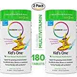 Rainbow Light Kid's One Food-Based Multivitamin (2 Packs of 90) - Chewable Probiotic, Vitamin and Mineral Supplement; Supports Brain, Bone, Heart, Eye and Immune Health in Kids Gluten Free