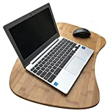 Bamboo Laptop Lap Desk of Extra Large Size   Natural Bamboo Lapdesk Surface with Cushion and Handle   Can Be Used As A Mobile Desk, Bed Tray, Book Stand, Coloring and Writing Table