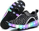 UBELLA Unisex Boys Girls LED Lighting Up Single Wheel/Double Wheels Roller Skate Sneakers
