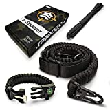 Traditional 2-Point 550 Paracord Rifle Sling | Two Point Gun Shoulder Strap Durable & Adjustable | Ideal for Tactical Shooting, Hunting& Emergency Situations (Black+Bracelet)