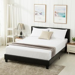 mecor Queen Bed Frame – Faux Leather Upholstered Bonded Platform Bed/Panel Bed – with Headboard – No Box Spring Needed – for Adults Teens Children,Black-Queen Size
