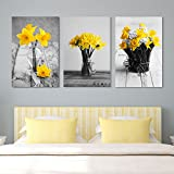wall26 - Yellow Flowers in Vases - Canvas Art Wall Decor - 24'x36' x 3 Panels