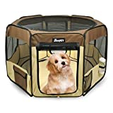 JESPET 45' Pet Dog Playpens, Portable Soft Dog Exercise Pen Kennel with Carry Bag for Puppy Cats Kittens Rabbits,Brown