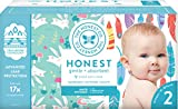 The Honest Company Club Box Diapers with TrueAbsorb Technology, Painted Feathers & Bunnies, Size 2, 76 Count