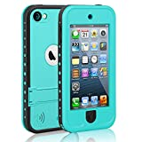 meritcase Waterproof Case for iPod 7 iPod 5 iPod 6, Waterproof Shockproof Dirtproof Snowproof Case Cover with Kickstand for Apple iPod Touch 5th/6th/7th Generation for Swimming Diving Surfing (Blue)