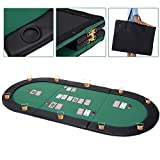 Giantex 10 Player 79'x36' Portable Tri-Fold Poker Table Top Oval Padded Folding with Carrying Case