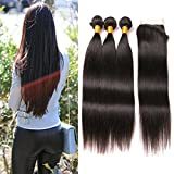 Brazilian Straight Weave With Closure Lace Front Free Part 4x4 Lace Front Baby Hair Plus 3 Bundles Weaves Sew In Natural Hair Extensions Mixed Length 14 16 18 + 12 inches