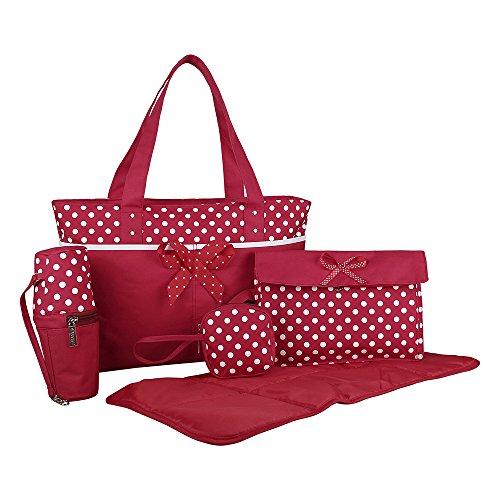 ECOSUSI 5pcs Bow Baby Nappy Bag Red