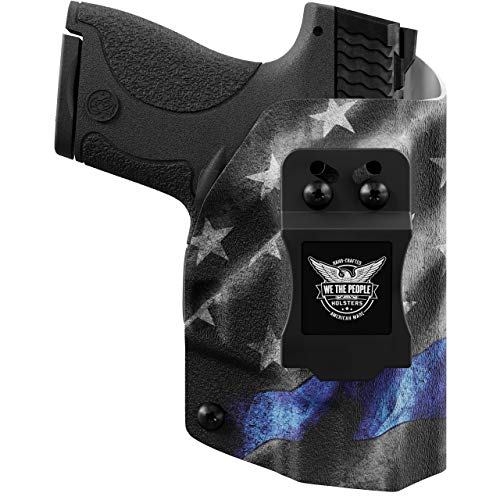 We The People - Thin Blue Line Right Hand Inside Waistband Concealed Carry Kydex IWB Holster Compatible with Smith & Wesson M&P Shield / M2.0 9mm/.40 Gun