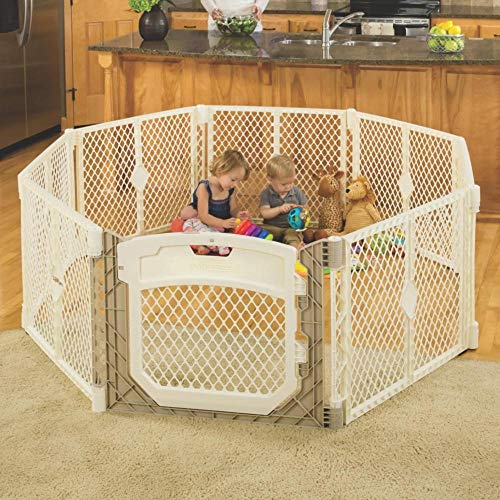 "North States Superyard Ultimate Play Yd: Safe Play Area for Indoors or Outdoors - Folds Up with Carrying Strap for Easy Travel. Freestanding. 34.4 Sq.'. Enclosure (26"" Tall, Ivory, 8-Panel)"