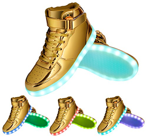 GreatJoy Kids/Adults Gold Light up LED Shoes/Sneakers 7 Color Flashing Pattern USB Rechargeable