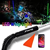 NF NIGHTFIRE RGB LED Whip 6FT APP Bluetooth Control w/Quick Release Shock-absorbing Spring ATV Safety Flag UTV Antenna Lighted Whips For RZR Polaris Can Am X3 Boat Sand Dune Buggy (One Whip)