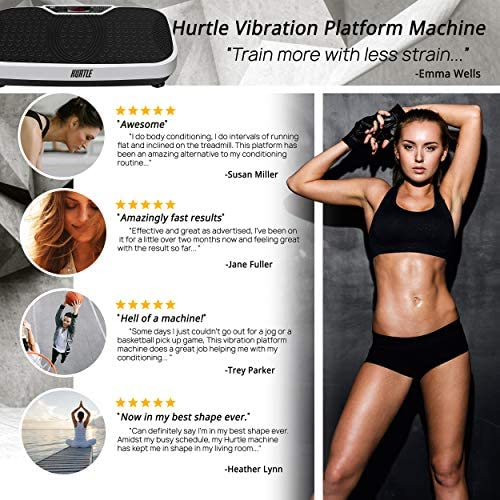 Hurtle Fitness Vibration Platform Machine - Home Gym Whole Body Shaker Exercise Machine Workout Trainer Fast Weight Loss w/Resistance Bands Easy Carry Wheel Remote Adjustable Speed 8