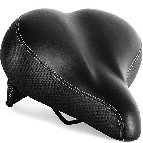 Bikeroo Most Comfortable Bike Seat for Seniors - Extra Wide and Padded Bicycle Saddle for Men and Women Comfort - Universal Bike Seat Replacement