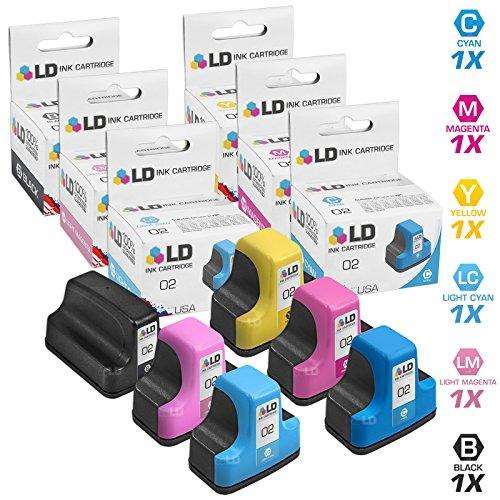 LD Remanufactured Ink Cartridge Replacements for HP 02 (1 Black, 1 Cyan, 1 Magenta, 1 Yellow, 1 Light Cyan, 1 Light Magenta, 6-Pack)