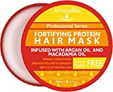 Fortifying Protein Hair Mask and Deep Conditioner with Argan Oil and Macadamia Oil By Arvazallia - Hair Repair Treatment for Damaged, Brittle, or Thinning Hair - Promotes Natural Hair Growth