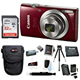Canon PowerShot ELPH Digital Camera (Red) + 32GB Memory Card + Focus Rechargeable Replacement Lithium Ion Battery + Travel Quick Charger + Focus Medium Point & Shoot Camera Accessory Bundle