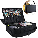 Professional Makeup Train Case Cosmetic Organizer Make Up Artist Box 2 layer Large Size with Adjustable Shoulder for Makeup Brush set Hair style nail beauty tool 16.54
