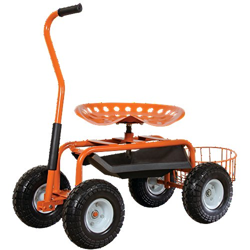 A.M. Leonard Garden Scoot with Swivel Seat, Flat-Free Tires and Bucket Basket