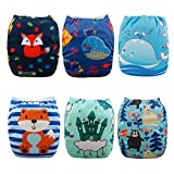 Babygoal Cloth Diapers for Boys, Adjustable Reusable Nappy 6pcs Diapers+6pcs Microfiber Inserts+4pcs Bamboo Inserts 6YDB06